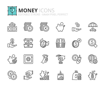 Outline icons about money. Finance concept. Editable stroke. 64x64 pixel perfect.
