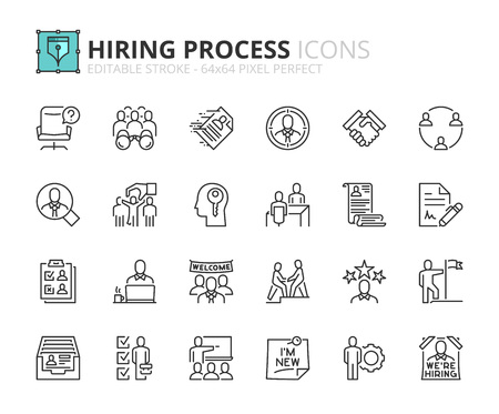 Outline icons about hiring process. Human resources concept. Editable stroke. 64x64 pixel perfect. Иллюстрация
