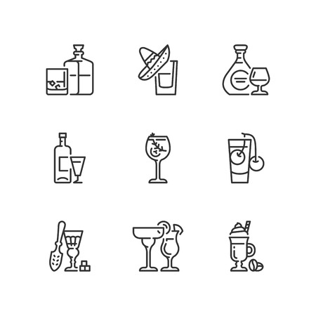 Outline icons about alcoholic drinks. Illustration