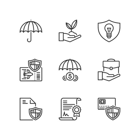 Outline icons about business protection