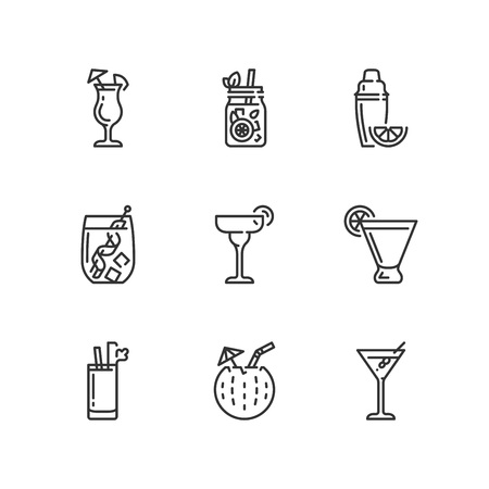 Outline icons about drinks. Cocktails