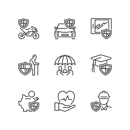 Outline icons about insurance