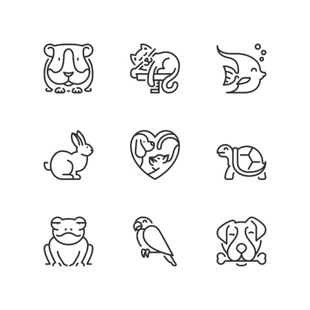 Outline icons about lovely pets