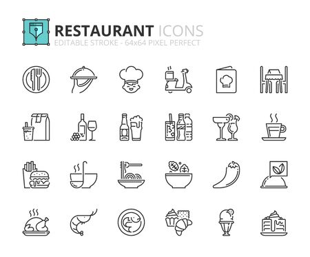 Icone di contorno sul ristorante. Cibo e bevande. Tratto modificabile. 64x64 pixel perfetti.