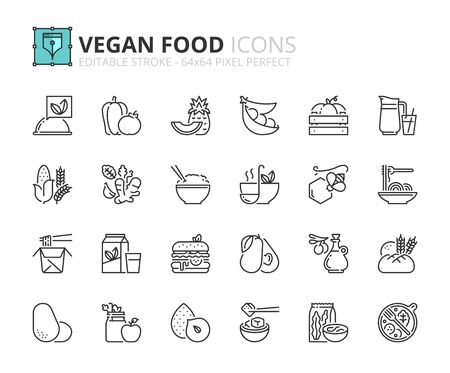 Outline icons about vegan food. Fruits, vegetables, beans, nuts, grains and soy. Editable stroke 64x64 pixel perfect.