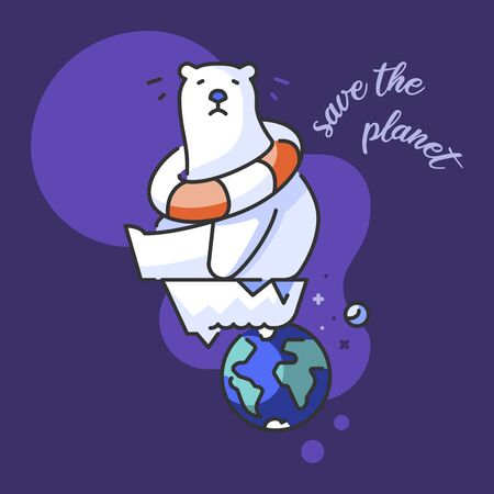 Climate change. Icon about ecology concept with a worried polar bear for the global warming in a iceberg. Save the planet.