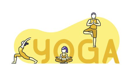 Healthy lifestyle concept. Icon about yoga and meditation. Group of people practicing yoga