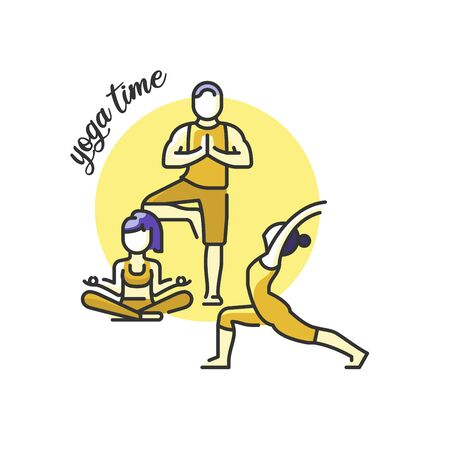 Healthy lifestyle concept. Icon about yoga and meditation. Group of people practicing yoga. Yoga time. Ilustração