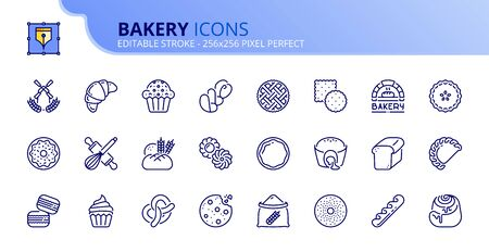 Outline icons about bakery products. Desserts, sweet food, bread, cookies, buns and pastries.