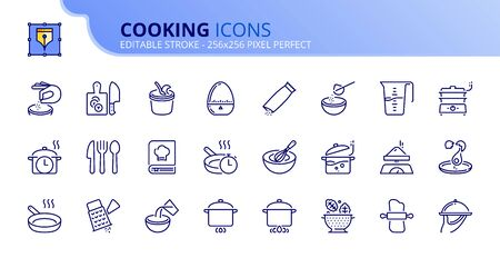 Simple set of outline icons about cooking. Food and drink. Editable stroke. Ilustração