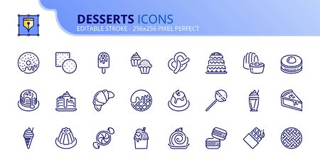Simple set of outline icons about desserts and sweets. Food and drink. Editable stroke.