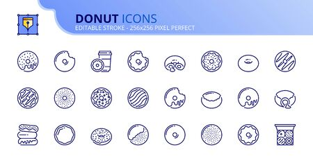 Outline icons about sweet donuts, filled doughnuts and holes with chocolate, cream, icing sugar and glazed. Bakery products.