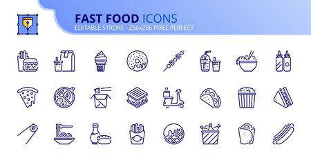 Simple set of outline icons about fast food. Food and drink. Editable stroke.