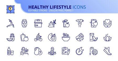 Simple set of outline icons about healthy lifestyle. Editable stroke. Ilustração