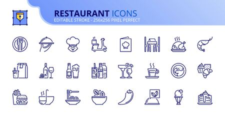 Simple set of outline icons about restaurant. Food and drink. Editable stroke. Stock fotó - 133448099