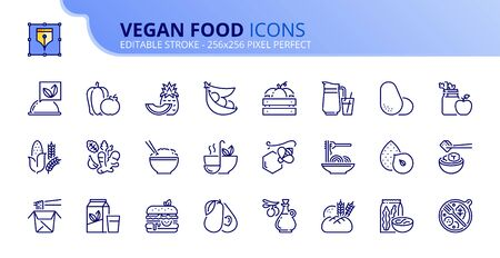 Outline icons about vegan food. Fruits, vegetables, beans, nuts, grains and soy.