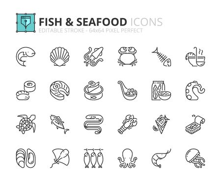 Outline icons about fish and seafood. Editable stroke 64x64 pixel perfect.