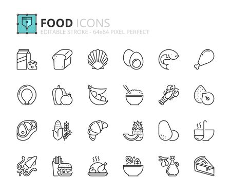 Outline icons about food. Fruit and vegetables. Protein, meat, seafood, dairy, nuts, eggs and legumes. Grain. Fast food, desserts and sugar products. Editable stroke 64x64 pixel perfect.