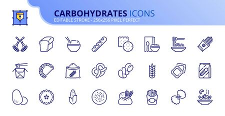 Outline icons about carbohydrates. Whole grain, potato, pasta and breads. Cereals such as corn, wheat, rice. Healthy food. Editable stroke. Vector - 256x256 pixel perfect.