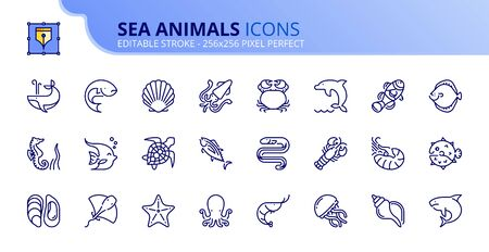 Outline icons about sea animals. Sea world. Editable stroke. Vector - 256x256 pixel perfect.