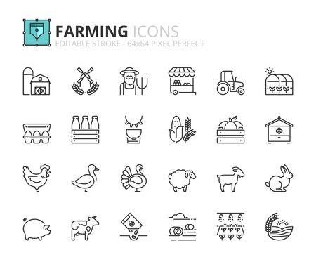 Outline icons about farming. Editable stroke 64x64 pixel perfect. Ilustracje wektorowe