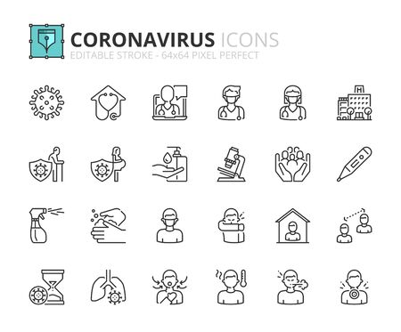 Outline icons about Coronavirus prevention and symptoms. Health care. Editable stroke 64x64 pixel perfect.