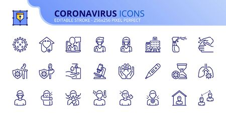 Outline icons about Coronavirus prevention and symptoms. Health care. Editable stroke. Vector - 256x256 pixel perfect.
