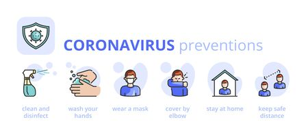 Information about Coronavirus preventions. Healthcare and medicine infographic. 2019-nCoV