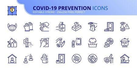 Décrire les icônes sur la prévention du coronavirus. Nettoyez et désinfectez, désinfectez les produits, lavez-vous les mains, portez un masque et la distanciation sociale. Trait modifiable.