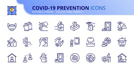 Outline icons about Coronavirus prevention. Clean and disinfect, sanitizer products, wash your hands, wear mask and social distancing. Editable stroke.
