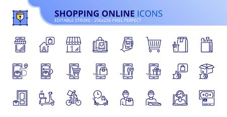 Outline icons about shopping online and delivery.  Editable stroke. Ilustração