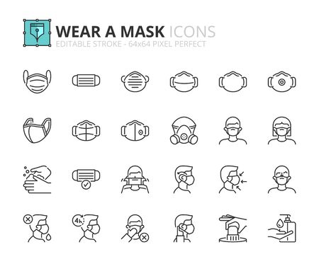 Outline icons about wear a mask. COVID-19 prevention. Contains such icons as how wear and remove the mask, and the different types of face masks. Editable stroke 64x64 pixel perfect.