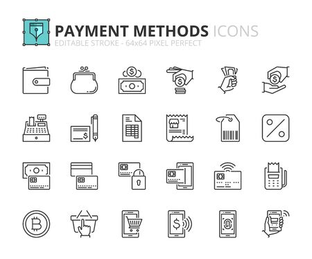 Outline icons about payment methods. Shopping. Contains such icons as wallet, coin, credit card, money, one click, check and contactless biometric payment. Editable stroke Vector 64x64 pixel perfect