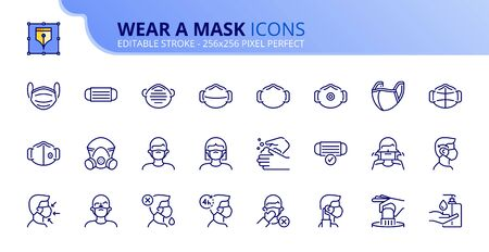 Outline icons about wear a mask. COVID-19 prevention. Contains such icons as how wear and remove the mask, and the different types of face masks. Editable stroke. Vector - 256x256 pixel perfect. Illusztráció