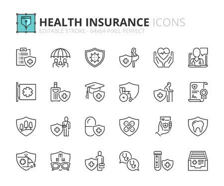 Outline icons about health insurance. Contains such icons as family protection, accident, vision and dental insurance, diagnostic and hospitalization. Editable stroke Vector 64x64 pixel perfect Ilustração