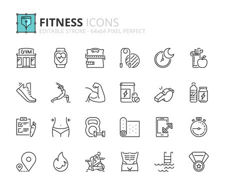 Outline icons about fitness. Healthcare. Contains such icons as gym, training, sports, running, diet, body building, yoga and equipment. Editable stroke Vector 64x64 pixel perfect