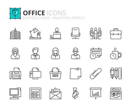 Outline icons about office. Business concept. Contains such icons as businessman, businesswoman, workplace, office supplies and devices. Editable stroke Vector 64x64 pixel perfect