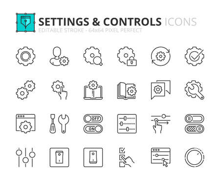 Outline icons about settings and controls. Contains such icons as account settings, up and down, web and applications tools and installing options. Editable stroke Vector 64x64 pixel perfect
