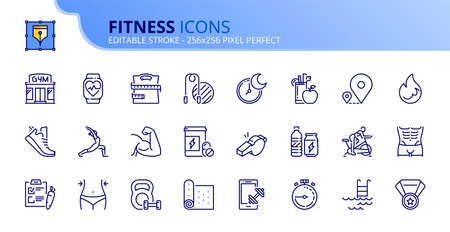 Outline icons about fitness. Healthcare. Contains such icons as gym, training, sports, running, diet, body building, yoga and equipment. Editable stroke Vector 256x256 pixel perfect