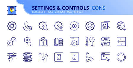 Outline icons about settings and controls. Contains such icons as account settings, up and down, web and applications tools and installing options. Editable stroke Vector 256x256 pixel perfect