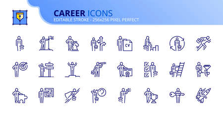 Outline icons about career. Business concepts. Contains such icons as businessman, strategy, motivation, success, opportunities, target and goal. Editable stroke Vector 256x256 pixel perfect