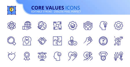 Outline icons about core values. Business concepts. Contains such icons as personal, interaction, external and business-oriented values. Editable stroke Vector 256x256 pixel perfect