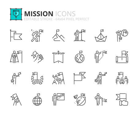 Outline icons about mission. Business concepts. Contains such icons as businessman with flag, achievement and goal. Editable stroke Vector 64x64 pixel perfect