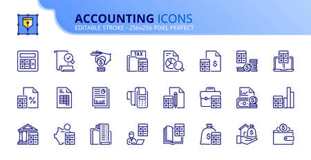 Outline icons about accounting. Finances. Contains such icons as calculator, money, audit, tax, assets, revenue, payable, credit, expenditure and ledger. Editable stroke Vector 256x256 pixel perfect