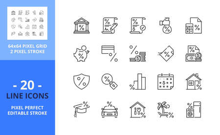 Line icons about loan. Contains such icons as bank, payday, calculator, TAX, credit card, cash, interest and insurance. Editable stroke. Vector - 64 pixel perfect grid.