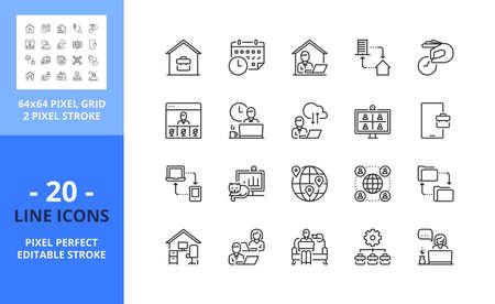 Line icons about remote working. Contains such icons as working, home, network, remote access, employees, video call, meeting and team location. Editable stroke. Vector - 64 pixel perfect grid.