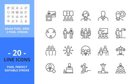 Line icons about business people. Contains such icons as businessman, working, teamwork, meeting, staff, conference and agreement. Editable stroke. Vector - 64 pixel perfect grid.