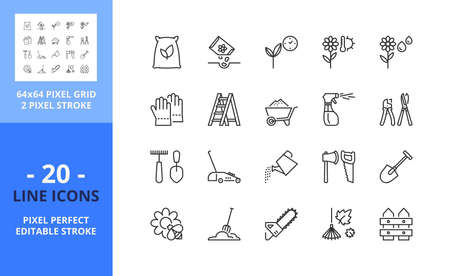 Line icons about gardening. Contains such icons as farming, plant, flower, autumn leaves, spring and tools. Editable stroke. Vector - 64 pixel perfect grid