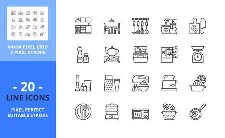 Line icons about kitchen. Contains such icons as cooking utensils, dinning room, teapot, dishvasher, refrigerator, knife, blender, an teaster. Editable stroke. Vector - 64 pixel perfect grid