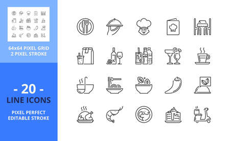 Line icons about restaurant. Contains such icons as food and drink, delivery, menu, take away and table reserved. Editable stroke. Vector - 64 pixel perfect grid
